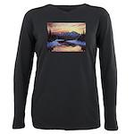 Winter sunset scene Plus Size Long Sleeve Tee