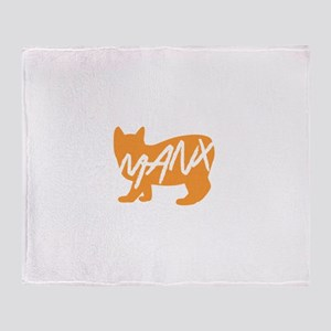 Manx Cat (Orange) Throw Blanket