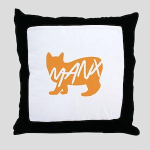 Manx Cat (Orange) Throw Pillow