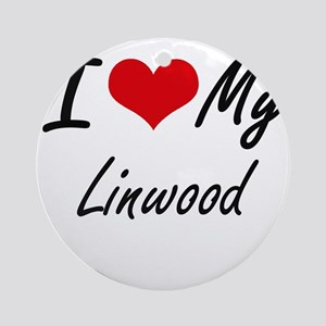 I Love My Linwood Round Ornament