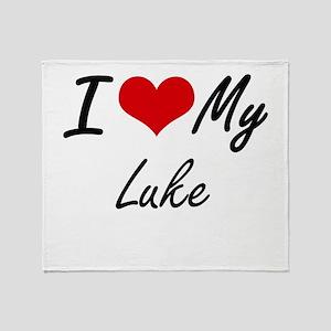 I Love My Luke Throw Blanket