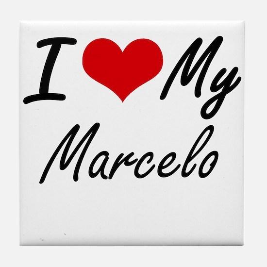 I Love My Marcelo Tile Coaster