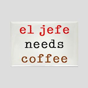 el jefe needs coffee Rectangle Magnet