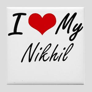 I Love My Nikhil Tile Coaster