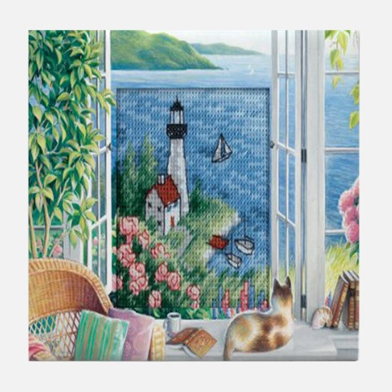 Lighthouse Landscape Tile Coaster