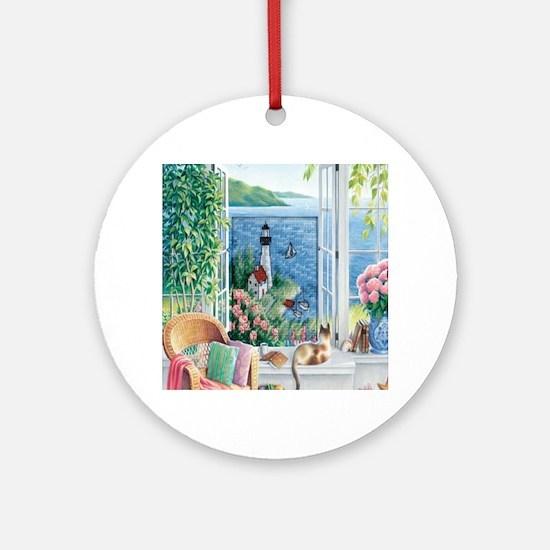 Lighthouse Landscape Round Ornament
