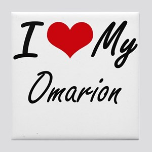 I Love My Omarion Tile Coaster