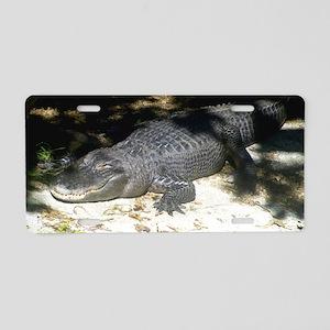 Alligator Sunbathing Aluminum License Plate