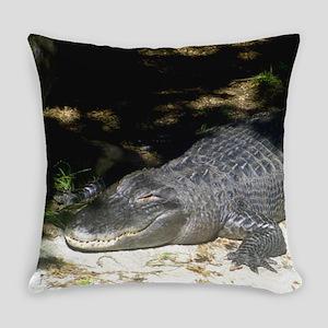 Alligator Sunbathing Everyday Pillow