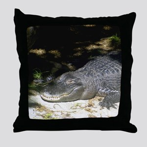 Alligator Sunbathing Throw Pillow