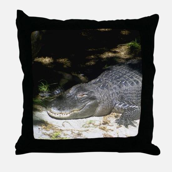 Alligator Sunbathing Throw Pillow