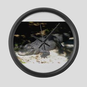 Alligator Sunbathing Large Wall Clock