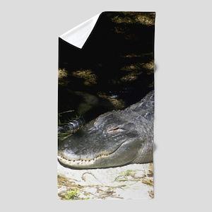 Alligator Sunbathing Beach Towel