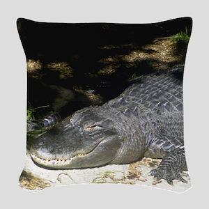 Alligator Sunbathing Woven Throw Pillow