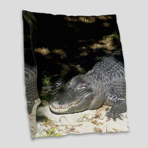 Alligator Sunbathing Burlap Throw Pillow