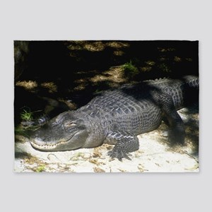 Alligator Sunbathing 5'x7'Area Rug