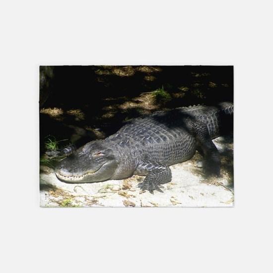 Alligator Sunbathing 5'x7'Area Rug