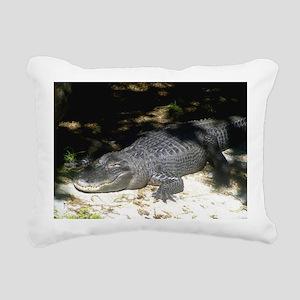 Alligator Sunbathing Rectangular Canvas Pillow