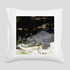 Alligator Sunbathing Square Canvas Pillow