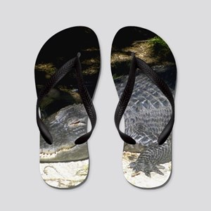 Alligator Sunbathing Flip Flops