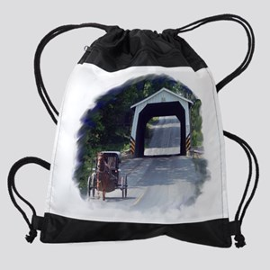 Amish Buggy and Covered Bridge Drawstring Bag