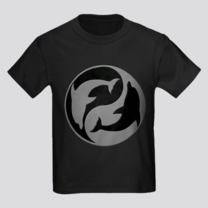 Grey And Black Yin Yang Dolphins T-Shirt