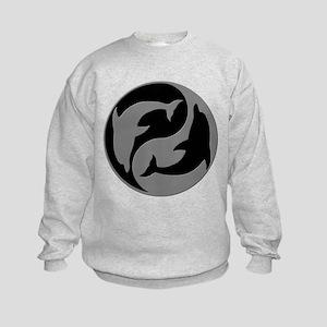 Grey And Black Yin Yang Dolphins Sweatshirt
