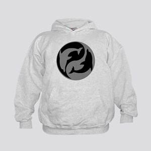 Grey And Black Yin Yang Dolphins Hoodie