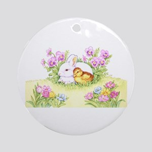Easter Bunny, Duckling And Flowers Round Ornament