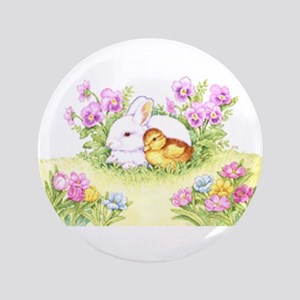 Easter Bunny, Duckling And Flowers Button
