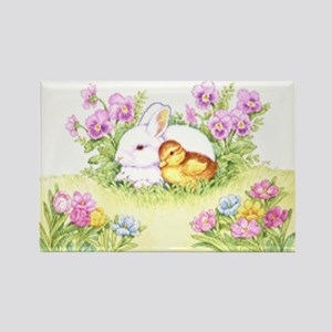 Easter Bunny, Duckling And Flowers Magnets