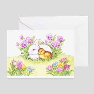 Easter Bunny, Duckling And Flowers Greeting Cards