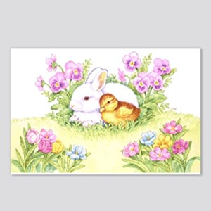 Easter Bunny, Duckling Postcards (package Of 8)