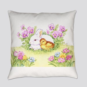 Easter Bunny, Duckling And Flowers Everyday Pillow