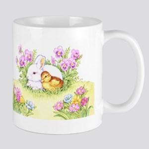 Easter Bunny, Duckling And Flowers Mugs