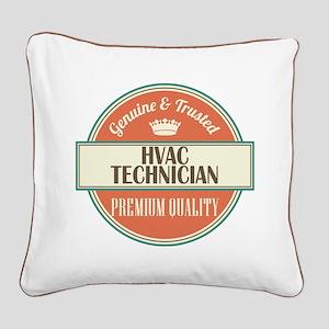 hvac technician vintage logo Square Canvas Pillow
