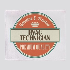 hvac technician vintage logo Throw Blanket