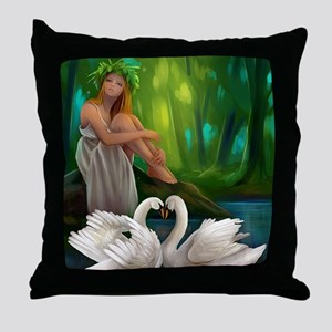 Muse and Swans Throw Pillow