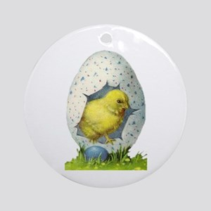 Vintage Easter Chick And Easter Egg Round Ornament
