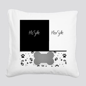 His Side Her Side Pets Square Canvas Pillow