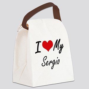 I Love My Sergio Canvas Lunch Bag