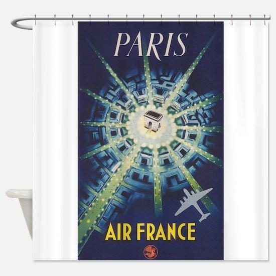 Paris, France, Vintage Travel Poster Shower Curtai