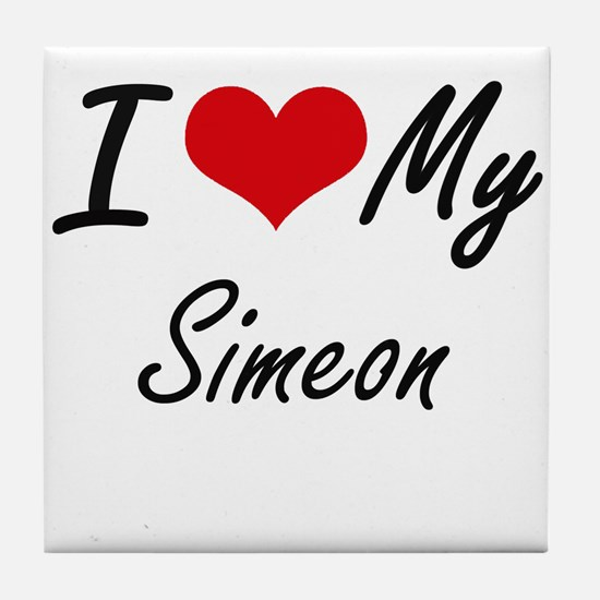 I Love My Simeon Tile Coaster
