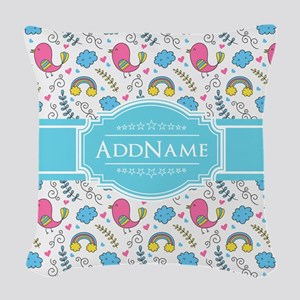 Personalized Name Aqua and Pin Woven Throw Pillow
