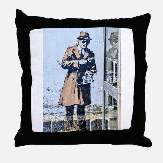 BANKSY SPY BOOTH CHELTENHAM Throw Pillow