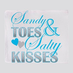 sandy toes salty kisses Throw Blanket