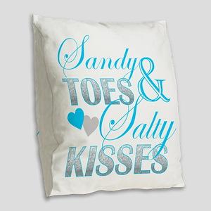 sandy toes salty kisses Burlap Throw Pillow
