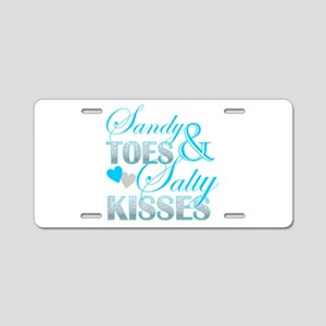 sandy toes salty kisses Aluminum License Plate