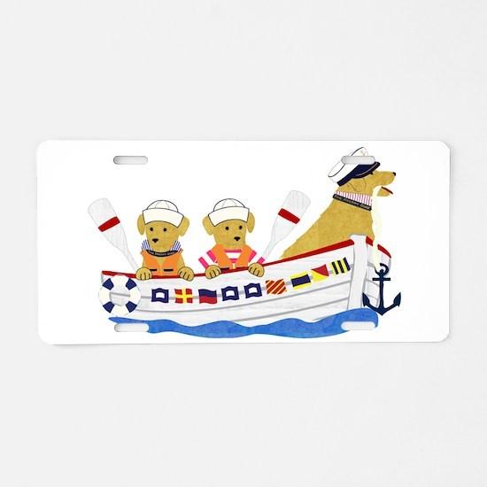 Nautical Preppy Retriever D Aluminum License Plate