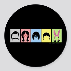 Bob's Burgers Silhouettes Round Car Magnet